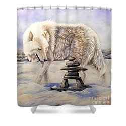 Inuksuk Shower Curtain by Sandi Baker