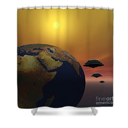 Invasion Shower Curtain by Corey Ford