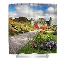 Inveraray Castle Garden In Autumn Shower Curtain