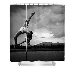 Inverted Splits Pole Dance Shower Curtain