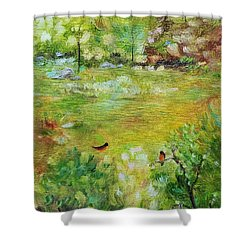 Shower Curtain featuring the painting Invincible Spring by Judith Rhue