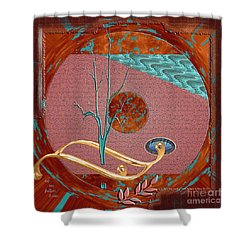 Shower Curtain featuring the digital art Inw_20a5564sq_sap-run-feathers-to-come by Kateri Starczewski