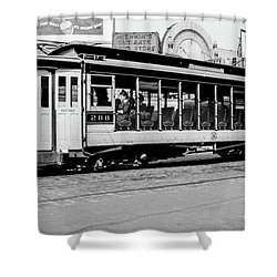 Shower Curtain featuring the photograph Inwood Crosstown Trolley  by Cole Thompson