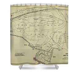 Shower Curtain featuring the photograph Inwood Hill Park 1950's Map by Cole Thompson