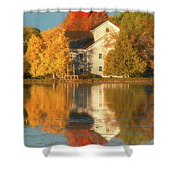 Iola Mill Fall Reflection Shower Curtain by Trey Foerster