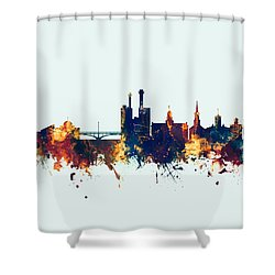 Shower Curtain featuring the digital art Iowa City Iowa Skyline by Michael Tompsett