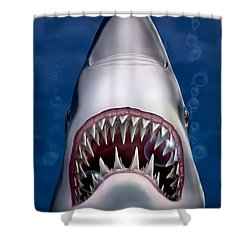 iPhone - Galaxy Case - Jaws Great White Shark Art Shower Curtain by Walt Curlee
