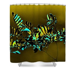 Iridescent  Leaves Shower Curtain