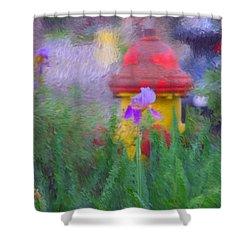 Iris And Fire Plug Shower Curtain by David Lane