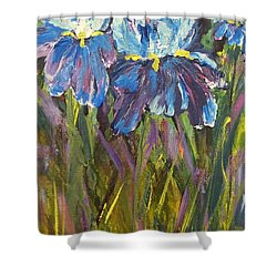 Iris Floral Garden Shower Curtain by Claire Bull