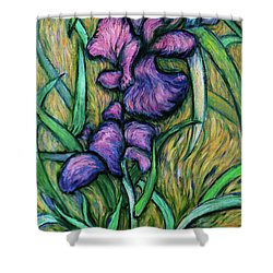 Shower Curtain featuring the painting Iris For Vincent - Contemporary Fauvist Post-impressionist Oil Painting Original Art On Canvas by Xueling Zou