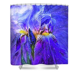 Shower Curtain featuring the mixed media Iris - Goddess Of Starlight by Carol Cavalaris