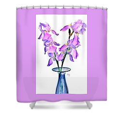 Iris Still Life In A Vase Shower Curtain by Marsha Heiken
