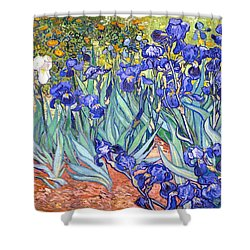 Shower Curtain featuring the painting Irises by Van Gogh