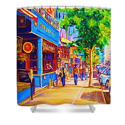 Shower Curtain featuring the painting Irish Pub On Crescent Street by Carole Spandau