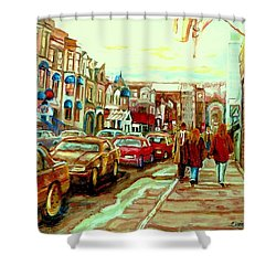 Irish Pubs And Bistros Downtown Montreal Shower Curtain by Carole Spandau