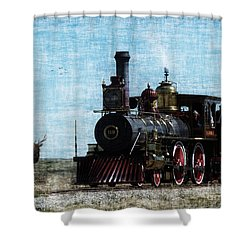 Iron Horse Invades The Plains Shower Curtain by Lianne Schneider