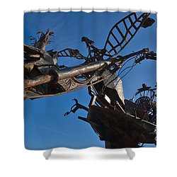 Iron Motorcycle Sculpture In Faro Shower Curtain