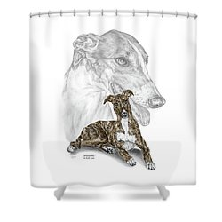 Irresistible - Greyhound Dog Print Color Tinted Shower Curtain