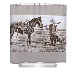 Irrigating The Hay Meadows Historical Vignette Shower Curtain by Dawn Senior-Trask