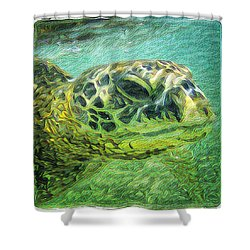 Isabelle The Turtle Shower Curtain by Erika Swartzkopf