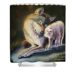 Isaiah Wolf And Lamb Shower Curtain