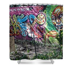 Shower Curtain featuring the photograph Isham Park Graffiti  by Cole Thompson
