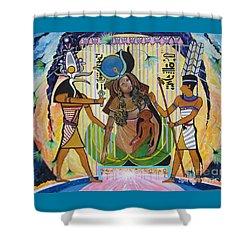 Blaa Kattproduksjoner     Presents Isis Giving Birth To Horus Shower Curtain