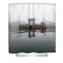 Island Boat Dock Shower Curtain