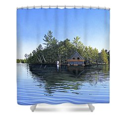 Shower Curtain featuring the painting Island Boathouse Muskoka  by Kenneth M Kirsch