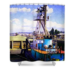 Shower Curtain featuring the photograph Island Chief In The Ballard Locks by Timothy Bulone