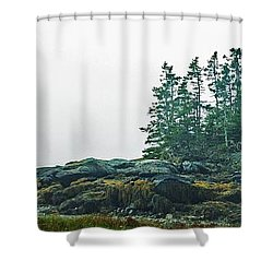 Island, Fog Shower Curtain by Christopher Mace