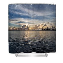 Island Horizon Shower Curtain by Christopher L Thomley