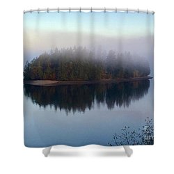 Island In The Autumn Mist Shower Curtain
