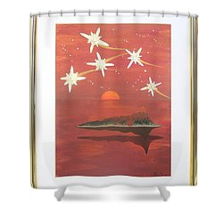 Shower Curtain featuring the painting Island In The Sky With Diamonds by Ron Davidson
