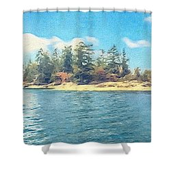 Island In The Sound Shower Curtain by William Wyckoff