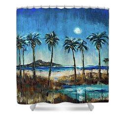 Island Lagoon At Night Shower Curtain