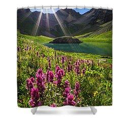 Island Lake Flowers Shower Curtain