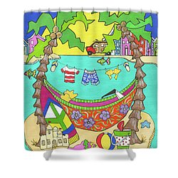 Shower Curtain featuring the painting Island Life by Rosemary Aubut