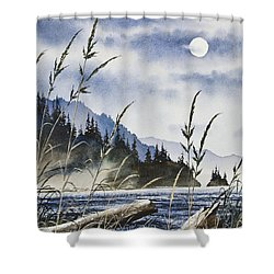 Island Moon Shower Curtain by James Williamson