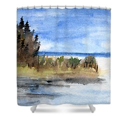 Island Point Shower Curtain by R Kyllo