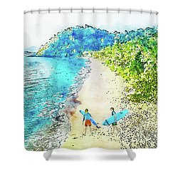Island Surfers Shower Curtain