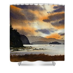 Shower Curtain featuring the painting Islands Autumn Sky by James Williamson