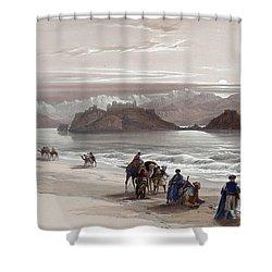 Isle Of Graia Gulf Of Akabah Arabia Petraea Feby 27th 1839 Shower Curtain by Munir Alawi