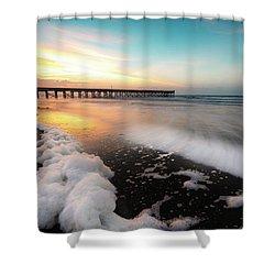 Isle Of Palms Pier Sunrise And Sea Foam Shower Curtain