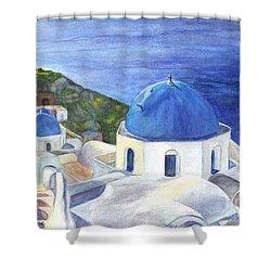 Isle Of Santorini Thiara  In Greece Shower Curtain
