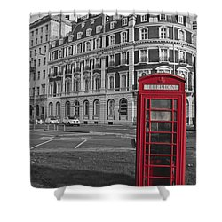 Isolated Phone Box Shower Curtain by Terri Waters