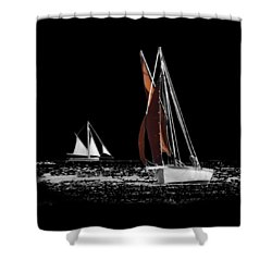 Isolated Yacht Carrick Roads On A Transparent Background Shower Curtain