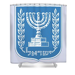 Israel Coat Of Arms Shower Curtain by Movie Poster Prints