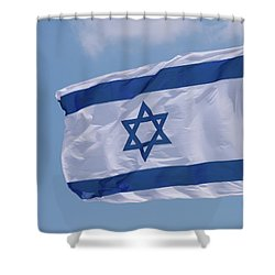 Israeli Flag In The Wind Shower Curtain by Yoel Koskas